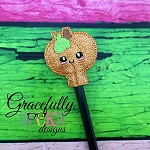 Pumpkin Pencil Topper ITH Embroidery Design 4x4 hoop (and larger)